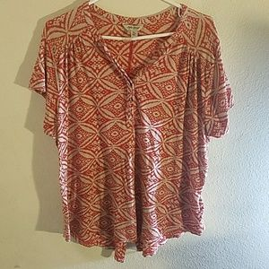 Lucky brand xl women's blouse top red white